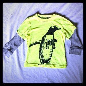Boys Bright Neon Yellow Penguin long sleeve